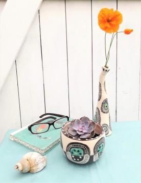 Ceramic planter and bottle