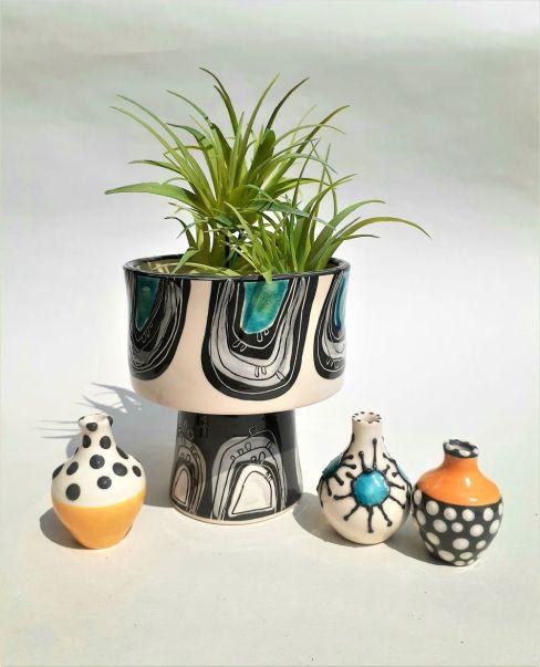 Pedestal Planter and Tiny vases